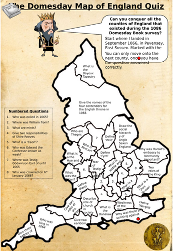 Anglo Saxon Map Of England.Ks4 History Anglo Saxon And Norman England Map Quiz By