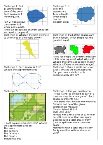 White Rose Block 5 Year 5 Finding Perimeter & Area Lesson 6  To estimate approximate area irregular