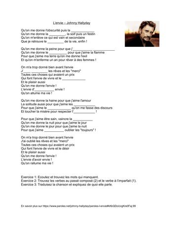 L'envie - Johnny Hallyday - texte à trou