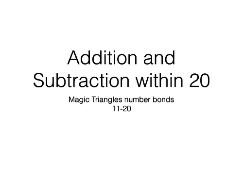 Addition subtraction to 20 magic triangles