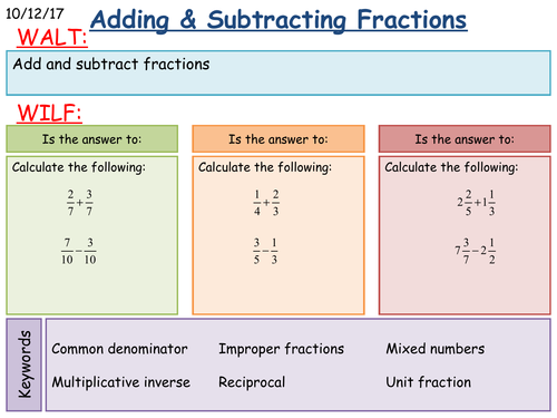 KS3 Maths: Adding and Subtracting Fractions