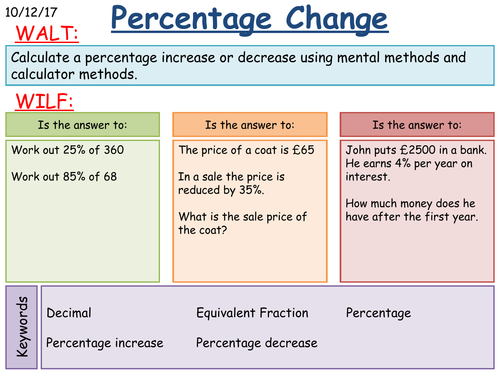 KS3 Maths: Percentage Increase and Decrease