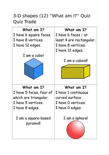 3D shape quiz quiz trade cards