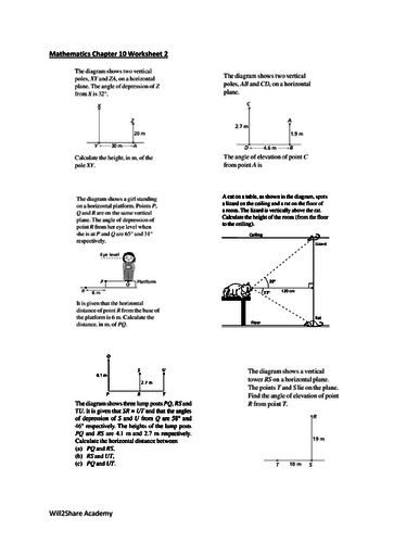 Angles of Elevation and Depression Worksheets (For advanced students)