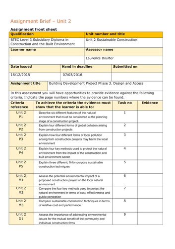 Level 3 Construction and the Built Environment Assignment Briefs