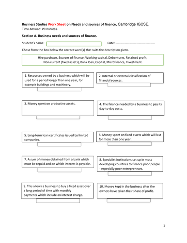 Business Studies Work Sheet on Needs and sources of finance, Cambridge IGCSE
