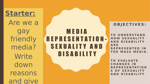 AQA A2 Sociology- Mass Media: Representations- Sexuality and Disability in the Media