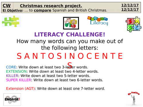 Research project (Motivational triggers) for KS3/KS4 Spanish AQA - Christmas project