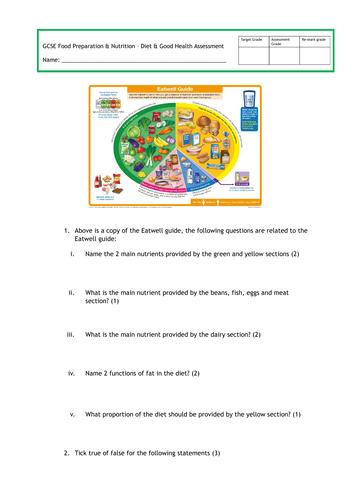 GCSE Food Prep - Diet & Good Health Assessment