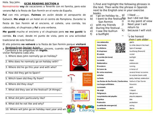 Spanish Festivals: San Fermin - Spanish KS4 AQA Reading A