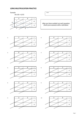 long multiplication practice worksheets chinese or lattice method by bench9 teaching resources. Black Bedroom Furniture Sets. Home Design Ideas