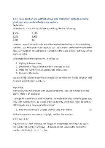 Two-Step Problems (Addition and Subtraction) (Cover/Homework/Extension/Planning)
