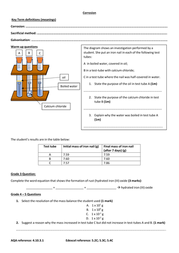 Topic 10 (AQA) chemistry GCSE triple new spec 2 worksheets (differentiated): corrosion
