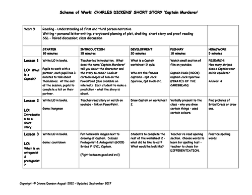 YEAR 9 ENGLISH SOW - Dickens' short story