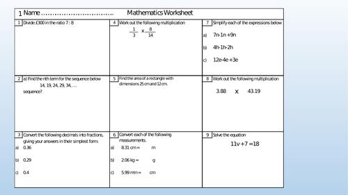 Weekly GCSE Mathematics Mini Test