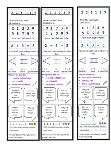 Maths presentation and feedback prompt bookmark for books/table/ KS1 & 2.