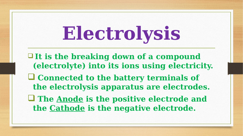 A comprehensive lesson on Electrolysis