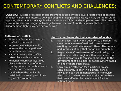 A LEVEL GEOGRAPHY INTRODUCTION TO CONFLICT
