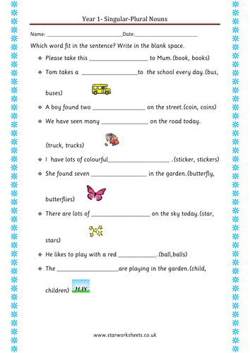 year 1 plural nouns worksheet by blueeyed7 teaching resources. Black Bedroom Furniture Sets. Home Design Ideas