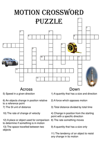 Physics Crossword Puzzle: Motion (Includes answer key ...