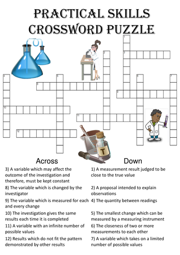 Science Crossword Puzzle: Practical skills (Includes answer key)