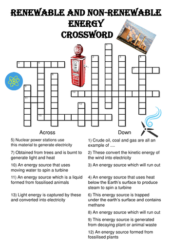 Physics Crossword Puzzle: Renewable and nonrenewable energy by ...