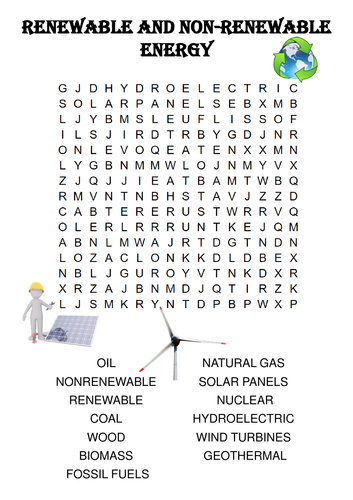 Physics Word Search: Renewable and Non-Renewable Energy Sources by ...