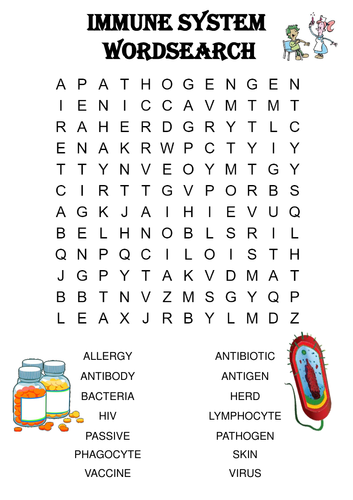 Biology Word Search: The immune system (Includes Solution)