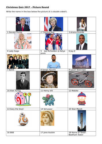 Christmas Quiz 2017 Picture Round - Some Manchester related Pics included  too