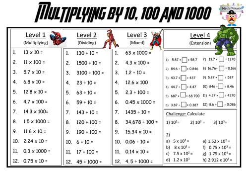 Differentated multiplying and dividing by powers of 10