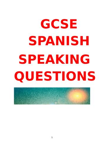 GCSE SPANISH SPEAKING QUESTIONS