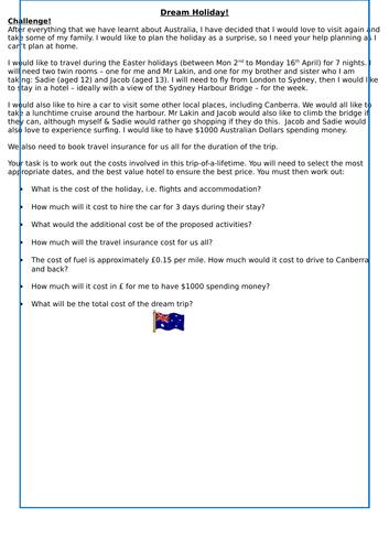 Australia Holiday planning maths challenge