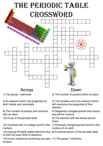 Chemistry Crossword Puzzle The Periodic Table Includes Answer Key