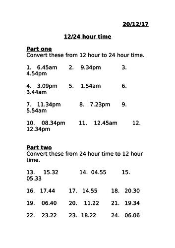 12 and 24 hour time