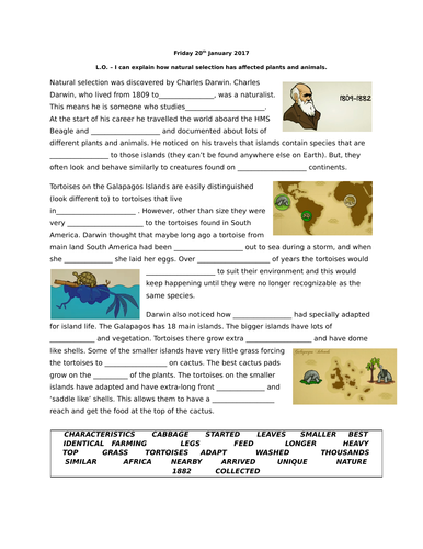charles darwin and natural selection differentiated worksheets including answers linked to. Black Bedroom Furniture Sets. Home Design Ideas