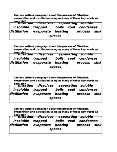 Separating Materials - Differentiated worksheets and video link