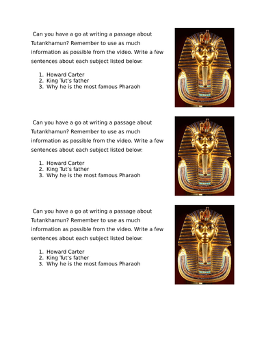 Tutunkhamun/ Ancient Egypt - Differentiated worksheet including answers!