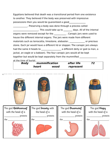 Ancient Egypt Canopic Jars - Differentiated worksheets linked to Youtube Video