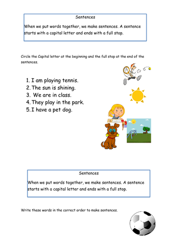 Year 1 SPAG Grammar worksheets