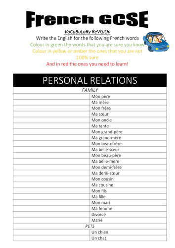 French GCSE vocabulary revision booklet