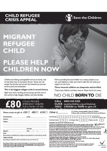 Migrant/refugee/child: Save The Children ad campaign