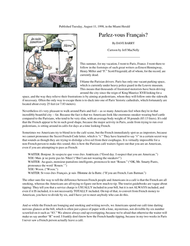 'Parlez-vous français?' (by Dave Barry) + comprehension questions