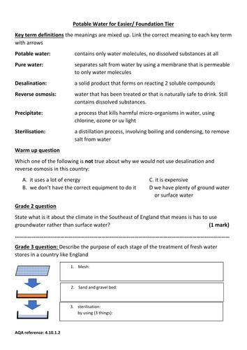 GCSE new spec chemistry topic 10: Potable water