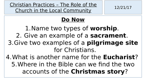 AQA A GCSE - Christian Practices - The Role of the Church in the Local Community