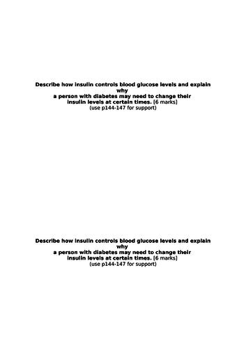 Treating Diabetes - AQA (9-1)