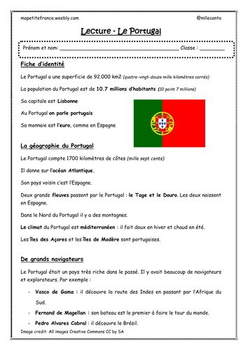 "Reading comprenhension worksheet ""Le Portugal"""