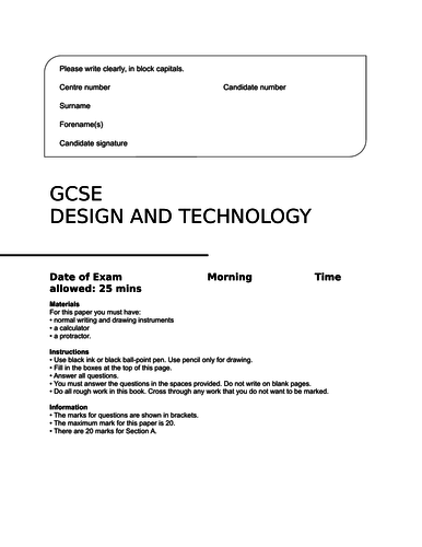 AQA GCSE Design and Technology (new specification 2017) practice exam paper section A