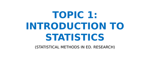 Introduction to statistics and Quantitative research