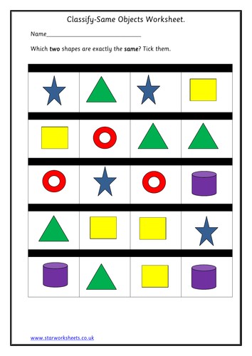 eyfs classify same shapes worksheet by blueeyed7 teaching resources. Black Bedroom Furniture Sets. Home Design Ideas