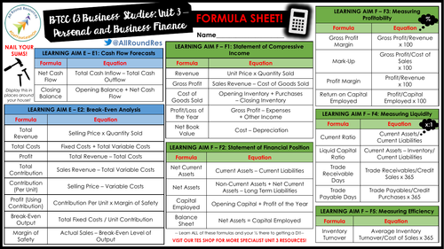 BTEC Level 3 Business: Unit 3 - Personal & Business Finance ALL THE FORMULAS SHEET!